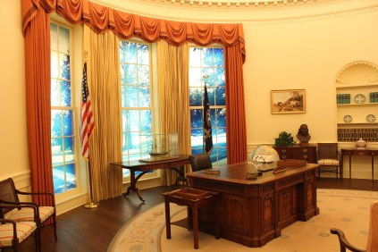 """Carter's replication of his oval office. Looks like he was sadly lacking """"personal touches"""", like family photos. Maybe he had some inkling of his future in politics..."""
