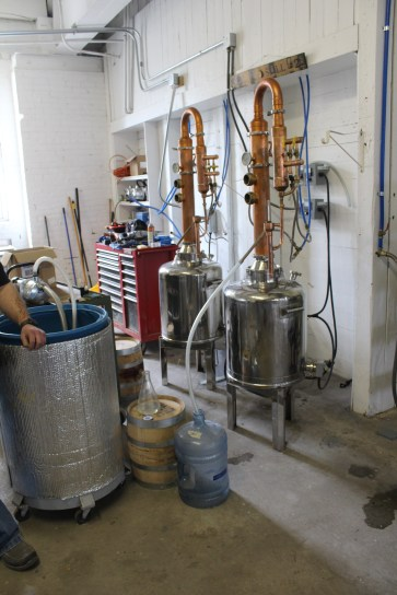 You can definitely tell we are at a Craft Tour distillery...the Hatfield & Co. production line, all of 2 tiny little stills...