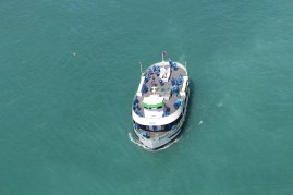Maid of the Mist, before heading into harm's way...Good time of year to take the ride, not a full boat.