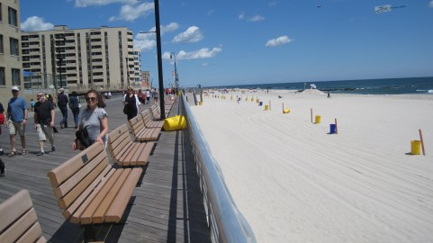 Long Beach, on Long Island, as you look along the boardwalk.