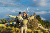 Our friends, Simone and Steven from Holland at the top of Poon Hill, feeling much fresher than we did!