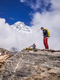 Prayer flags and cairns below Annapurna I