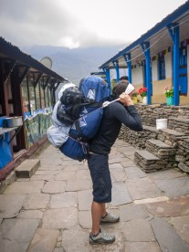 Me trying out the Sherpa style of carrying gear