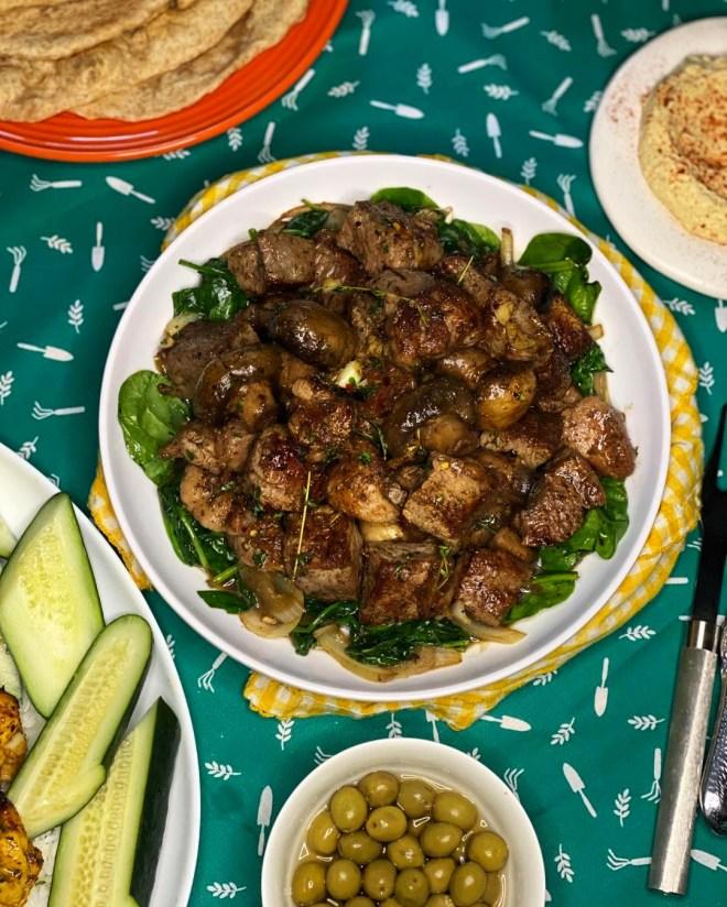 New York Strip Bites & Garlic Spinach