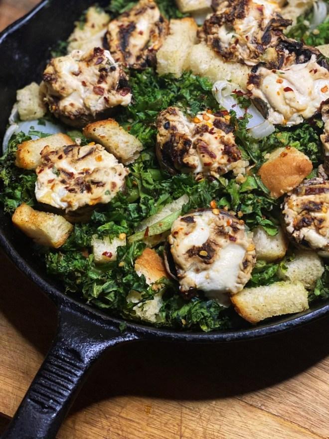 Kale and Stuffed Mushroom Bake