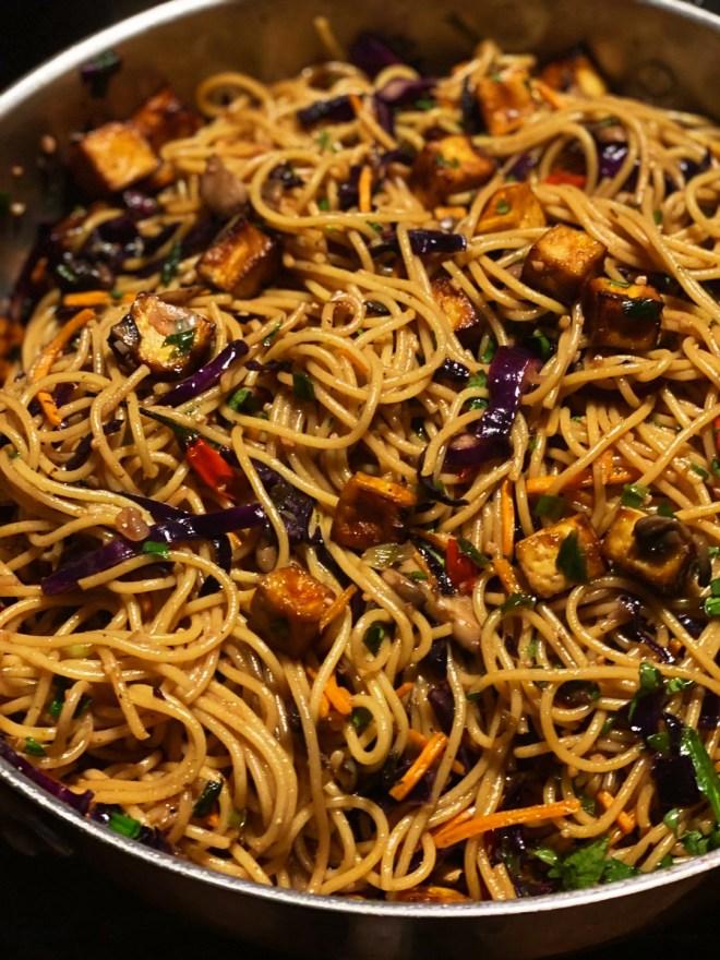 Crispy Teriyaki Tofu & Thai Chili Noodles