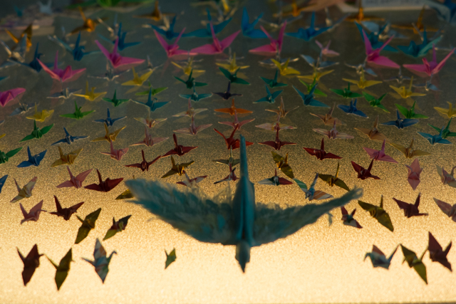 An exhibition of minature paper cranes - dedicated to world peace.