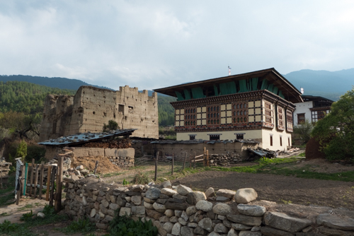 Typical Bhutanese house - the new next to th old.