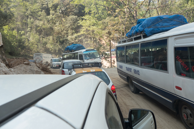 Bhutan has initiated a program to upgrade all of its major roads by 2020.   In the meantime, there are some traffic holdups due to construction.