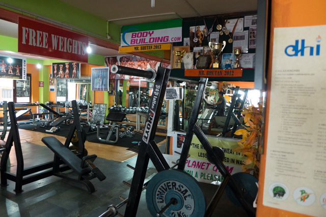 This gym is owned by one of the former Bhutanese body builder champions.