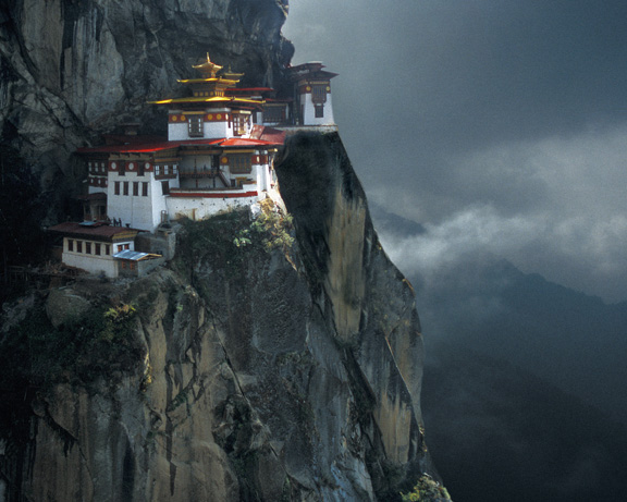 An closer view of the Tigers Nest Monastery.