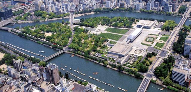An aerial view of Hiroshima Peace Memorial Park.