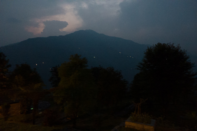 Nightime view from the Garung Lodge.