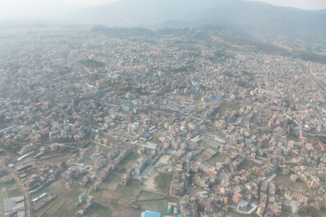 Kathmandu, Nepal's largest city at 2.5 million, from the air.
