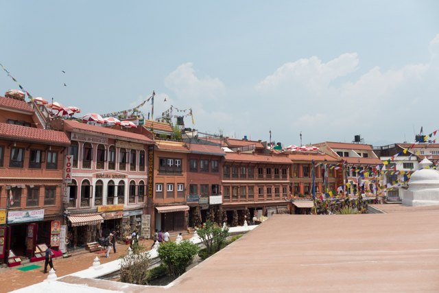 Rooftop cafes encircle the Buddhist stupa of Boudhanath.