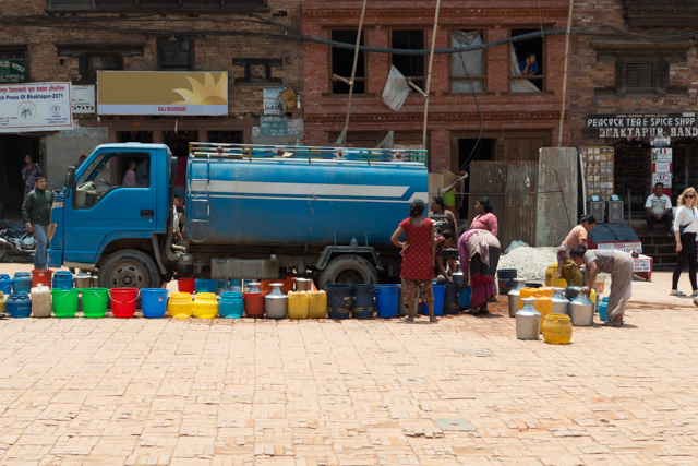 The ever-present water trucks that distribute fresh water to Kathmandu residents.