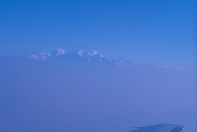 Our first glimpse of the Himalayan peaks.