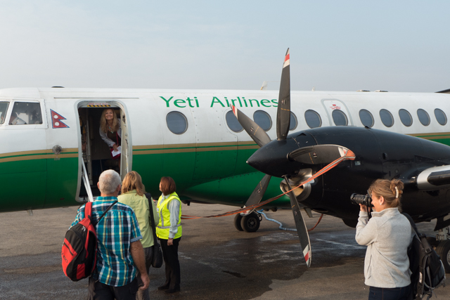 Loading up on the Yeti Airlines aircraft that will fly around Mt. Everest.