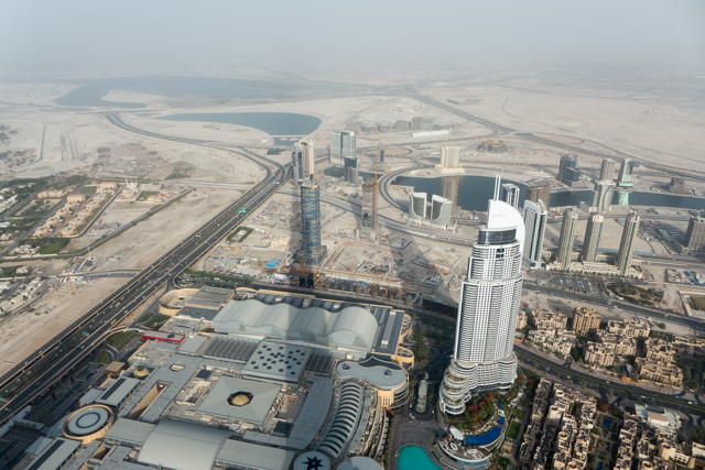 View from the observation deck of the Burj Kalifa.