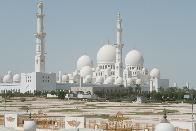 Constructed from 1996 to 2007, the Sheikh Zayed Grand Mosque in Abu Dhabi is the largest mosque in the United Arab Emirates and the eighth largest mosque in the world. The Sunni mosque is large enough to accommodate over 40,000 worshipers – about 10,000 indoors and the remainder in the large courtyard.