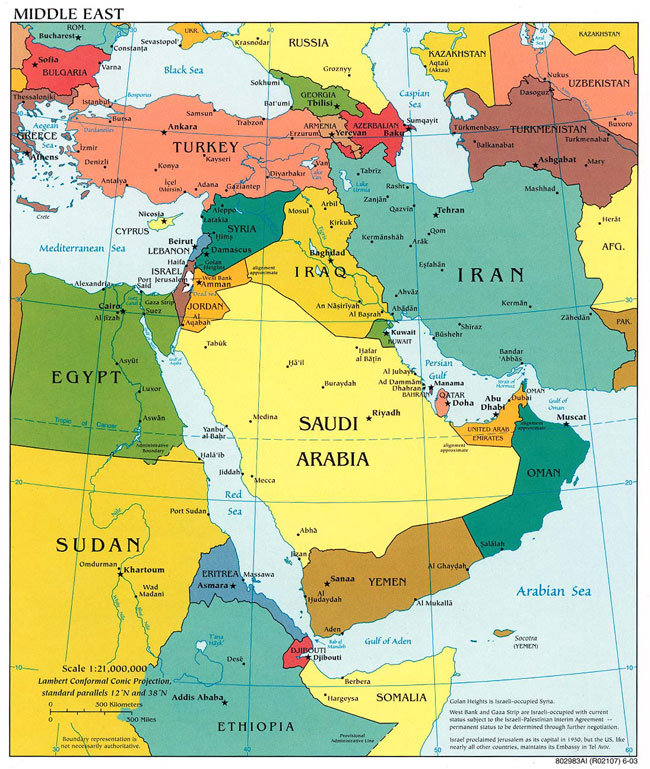 Map of Middle East. UAE is  the small brown country on the eastern edge of Saudi Arabia.