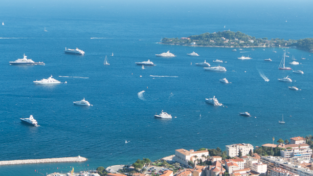 The harbor at Beaulieu-sur-Mer, just to the west of Cap Ferrat. The largest assortment of large luxury yachts that we've ever seen.  The following pics are of some of these yachts.