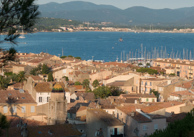 A view of Saint-Tropez with the morning sun.  Like a sleepy village at this time of day.  In fact, Saint-Tropez is known as  both a quiet little town and a modern jet-set holiday target.