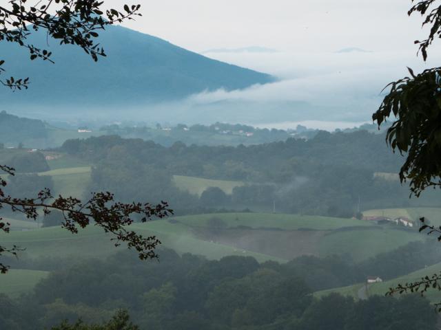 Beautiful hazy valleys on our way from Ainhoa to Bidarray.