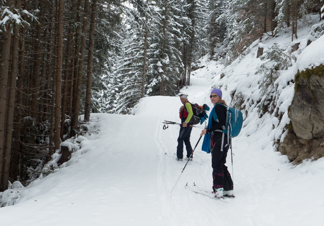 The trail was well maintained and the atmosphere was serene.  All in all, a very successful introduction to ski touring.