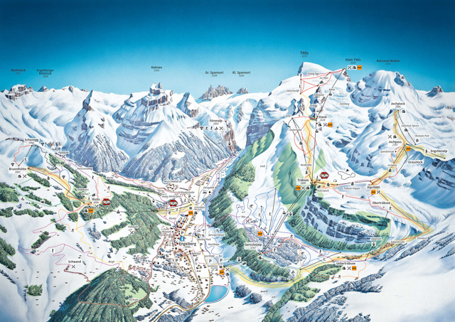 Engelberg ski/snowshoe map.  Notices the trails are on top of successive plateaus with cliff faces.