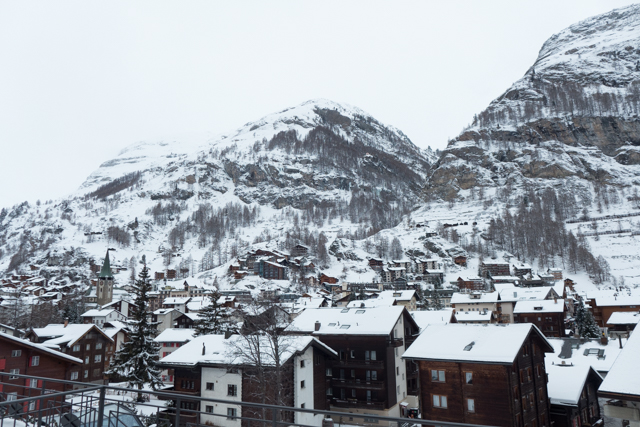 As we hiked out of the snow covered town of Zermatt.