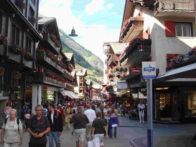 Typical Zermatt street in the summertime.