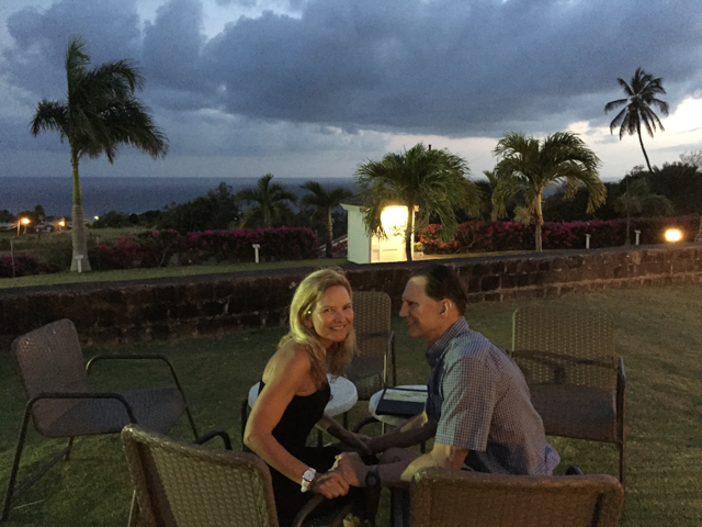 Dinner at a Nirvana Restaurant on St. Kitts.  New upscale Indian restaurant at an old plantation.  Fantastic dinner accompanied by a green flash.