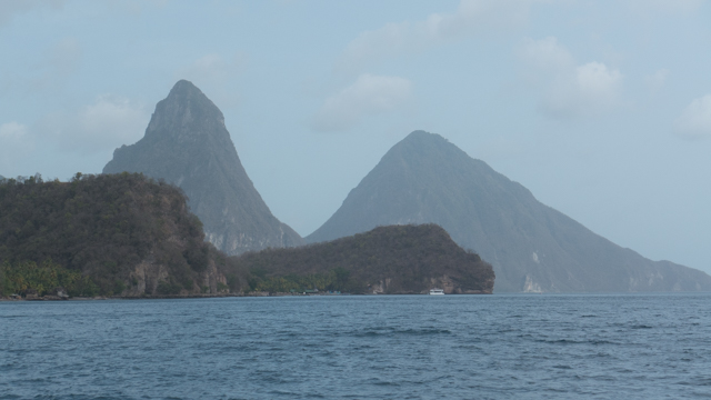 Arriving at the Pitons in St. Lucia - one of our favorite places in the world.