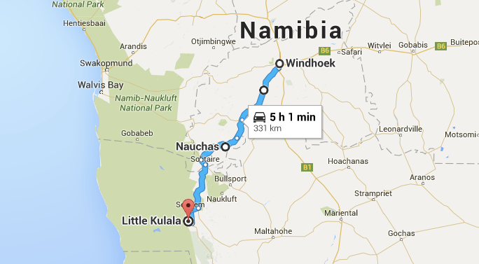 The 5.5 hour drive from Windhoek to Sossusvlei was mostly on gravel roads.