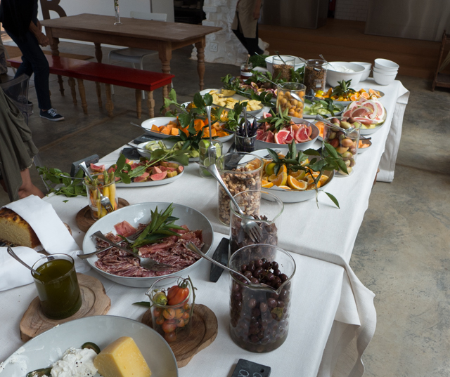 The breakfast buffet was filled with fresh fruits and vegetables from the gardens.