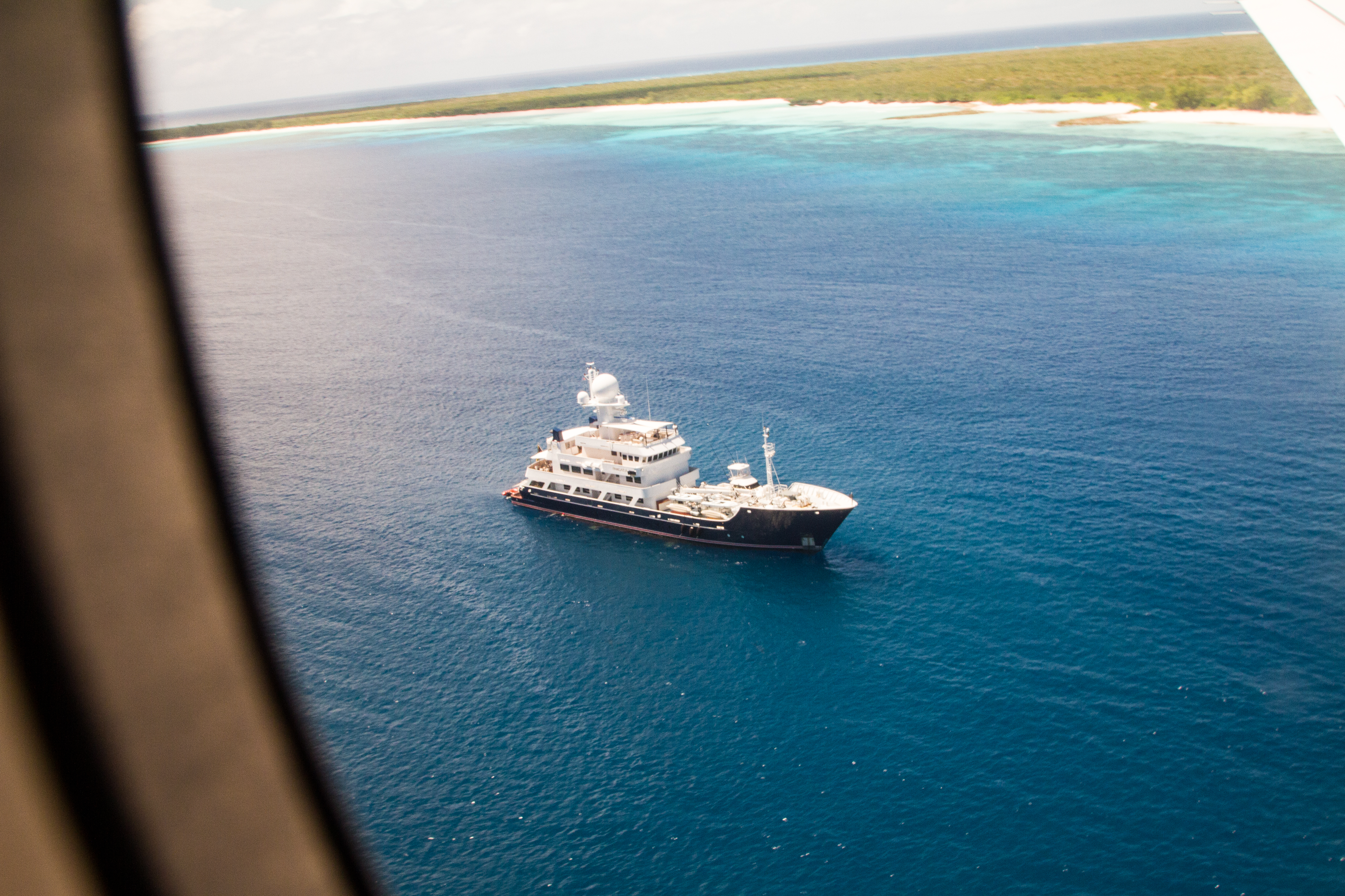 Pangaea from the air, anchored just off Assumption Island.