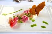 Tuna Sashimi with radish and creme freche.