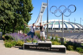 Outside the Olympic Stadium, which is next to the gardens.