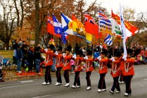 Marching flags.