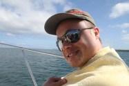 Glen on a boat. Not seasick for a change