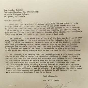 Complaint letter to Kubrick