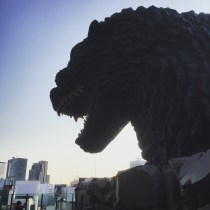 Godzilla ready to eat Tokyo...if he could only escape from the hotel.