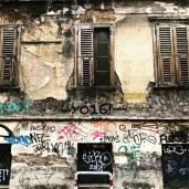 Old building with graffiti
