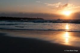 Golden light of an Autumn sunrise at the beach