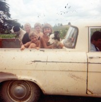 With my cousins in the back of an old ute, New Zealand