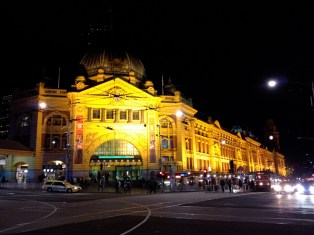 Flinders station at night