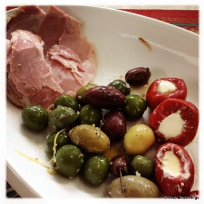 ham, olives, stuffed peppers