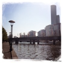 Melbourne and one of the sculpture bridges