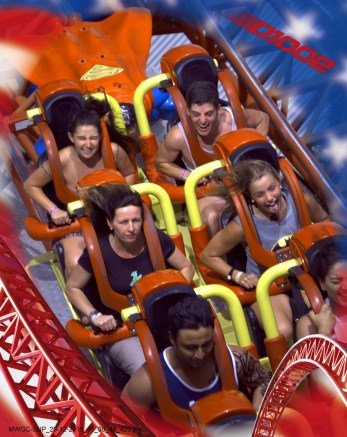 People On the Superman rollercoaster